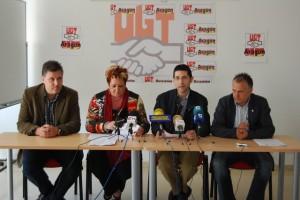 Secretarios comarcales de UGT Lérida, Barbastro y Monzón. Foto JLP.