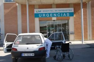 Entrada a urgencias del Hospital de Barbastro. Foto JLP.