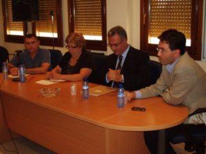 Reunión en el Ayuntamiento de Albalate de Cinca. Foto S.E.