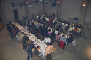 Jóvenes que acudieron a la cena del sábado en Panzano.