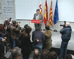 El alcalde de Barcelona durante el anuncio de la candidatura. Foto E.P.