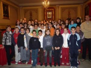 Los alumnos de La Merced en el Ayuntamiento.