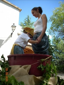 Las uvas son pisadas en la representación para simbolizar que la vendimia ha finalizado.