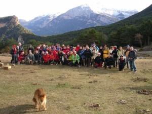 Foto de familia de los montañeros.