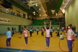 Las gimnastas durante un entrenamiento. JLP.
