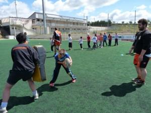 Iniciación al rugby con los niños.