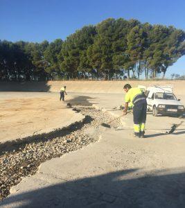 Reparación de grietas. Foto: Ayuntamiento de Monzón.
