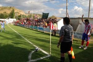 Un momento del partido ante el Compostela en el Isidro Calderón. Foto JLP.