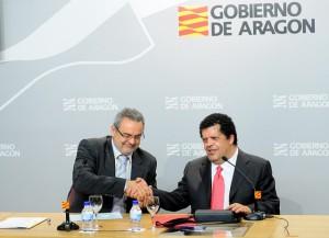 A la izda. Alfredo Boné, consejero de Medio Ambiente del Gobierno de Aragón A la dcha. Luis Crespo, director general de la Fundación ONCE. Foto: S.E.