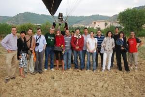 Participantes en el vuelo sobre los viñedos. Foto S.E.
