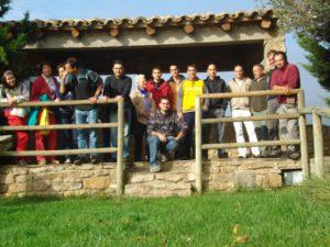 Vecinos de Labata posan en el mirador de Santa Cilia de Panzano. Foto M.P.