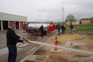 Demostración en el parque de bomberos del Somontano. Foto JLP.