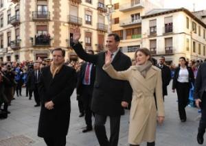 Los príncipes junto a Marcelino Iglesias en Jaca. Foto S.E.