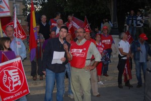 Miguel Ángel Colomina y Ramón Campo de UGT y CC.OO. JLP.