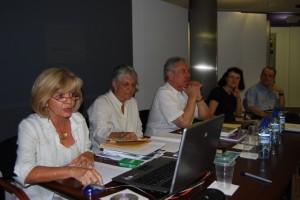 Seco, Celorio y Ferré en el curso de verano de la UNED. JLP.