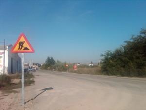 Inicio de las obras en la carretera.