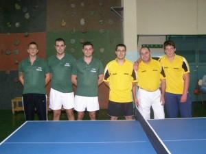 De izquierda a derecha R. Giner, J.J. Ballesteros, F. Giner, Telmo Pereira, Juan Carlos Alcaide y Joaquín Palacio.
