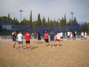 Los competidores durante el calentamiento.