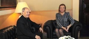 Reunión entre el obispo y la presidenta de Aragón en Zaragoza.