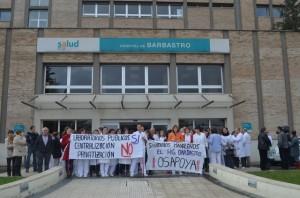 Protestas en el Hospital de Barbastro. JLP.