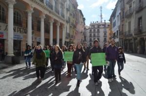 Manifestación estudiantil en Barbastro. JLP.