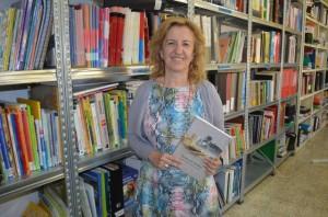 María Ángeles Oliván en el centro de educación de adultos de Barbastro. JLP.