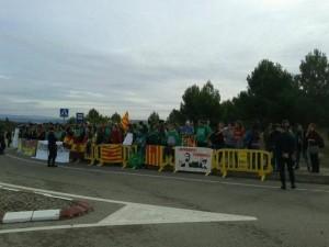 Protesta estudiantil en Huesca contra la presencia de la Princesa.