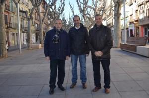 Jaime Facerías, Conrado Chavanel y Antonio Cosculluela en el Coso. JLP.