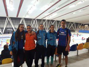 Atletas del CA Hinaco Monzón en los controles de Sabadell y Zaragoza. Foto: CA Hinaco Monzón.